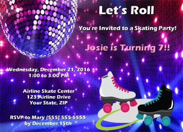20 Personalized Roller Skating Birthday Party Invitations-Disco