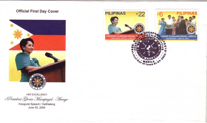 Philippines Pres. Gloria Arroyo Inaugural Speech and Oath-taking 2v FDC