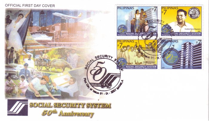 Philippines Social Security System 50th Anniversary 4v FDC
