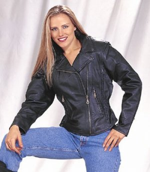 Ladies heavy duty soft leather Jacket with braid, lining, gather sides