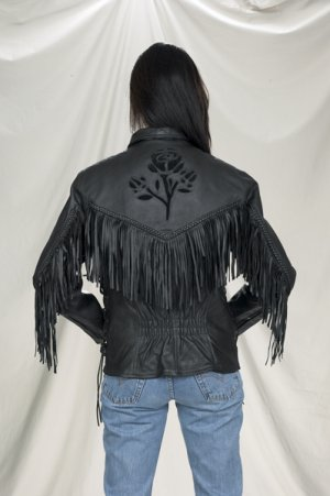 Ladies black leather  rose Inlay jacket, S/L, Z/O, lining heavy duty soft leather