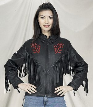 Ladies red rose Inlay jacket, S/L, Z/O, lining heavy duty soft leather