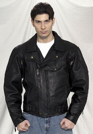 Mens pistol pete leather jacket, braided, airvents front and back, vertical velcro openings front,