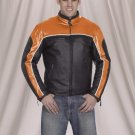 Mens racer leather jacket zipout lining w/airvent & light reflectorj