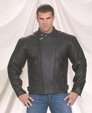 Mens Naked Cowhide Racer Airvent leather Jacket, with padding, side belt,lining long back