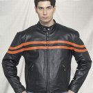 Mens racer leather jacket with airvents front and back 2 orange stripes front and back zipout lin
