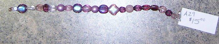 A29- Bracelet Mixed Chech Glass Pinks/Purples