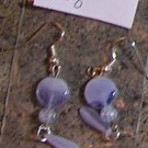 E2 - Lavender Swirl Glass Teardrop Beaded Earrings