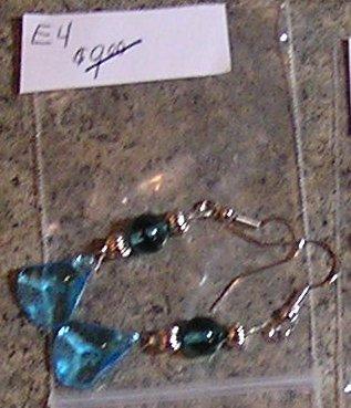 E4 -Hatchet-shaped Aqua Glass Beaded Earrings