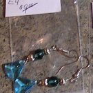 E4 -Hatchet-shaped Aqua Glass Beaded Earrings