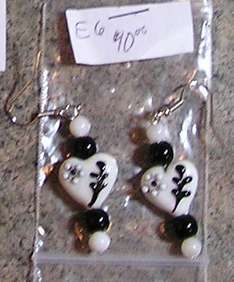 E6- Handblown Glass Heart Beaded Earrings