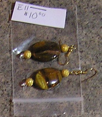 E11- Oval Tiger Eye and Gold Stardust Drop Earrings