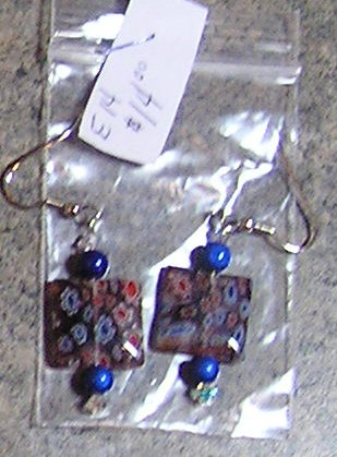 E14- Earrings - Millefiori Purple and blue dangles