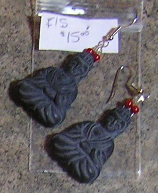 E15 - Earrings - Grey Budda Earrings