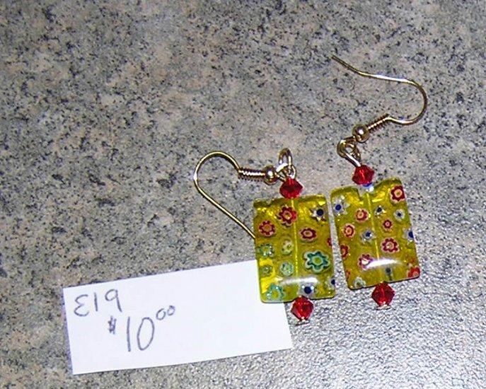 E19 - Earrings - Yellow millefiori