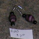 E20 - Earrings - Oval Purple frosted glass swirl beaded drops
