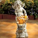 Graceful Solar Angel Statue Cherubs with Fountain Effect NEW Cold Cast Ceramic