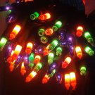HALLOWEEN MARDI GRAS STRING LIGHTS Multicolor Black Wire Orange Green Purple NEW