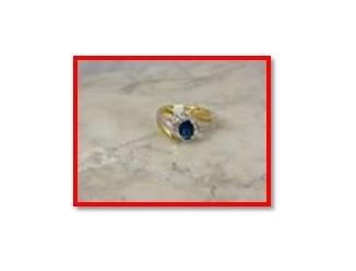 Ssapphire zircon & swarovski crystal Ring, sz 10 (fr-31)