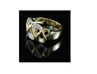 SWAROVSKI CRYSTAL RIBBON 14K YGP ring, size 8 (fr-30)