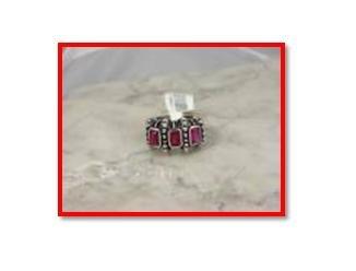 RUBY RUSSIAN ZIRCON RHODIUM RING, size 7 (fr-27)