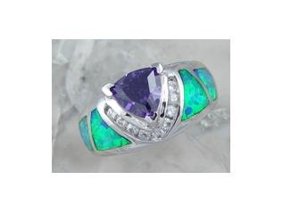 LAB OPAL INLAY AMETHYST .925 SILVER RING, size 8 (sr-5)