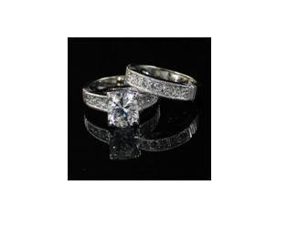 SIMULATED DIAMOND BRIDAL SET WGP RING, size 8 (fr-26)