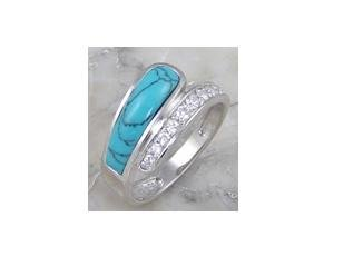 Elegant turquoise rhodium plated .925 silver ring, size 8 (sr-4)