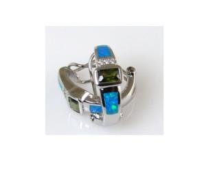 "Lab opal &peridot rhodium plated .925 silver earrings, 3/4"""