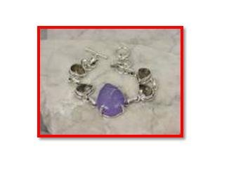 Purple druzy & smokey quartz .925 silver bracelet, 7.5-8""