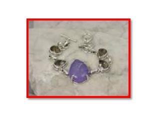 """Purple druzy & smokey quartz .925 silver bracelet, 7.5-8"""""""