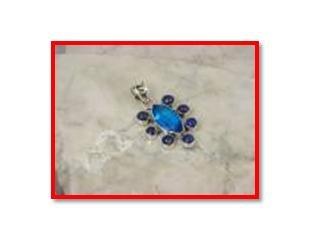 Blue topaz & lapis pendant in .925 silver