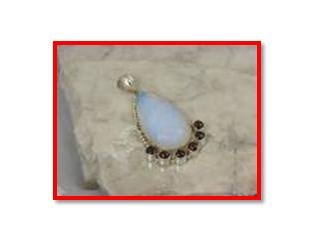 Big opalite & garnet pendant in .925 silver