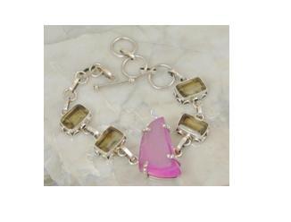 """Pink druzy smokey quartz .925 silver bracelet, 7.5-8"""""""