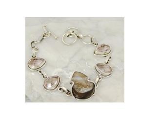 """Black druzy & pink blush .925 silver bracelet, 8"""""""