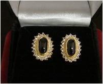 14KT GP Genuine black onyx earrings