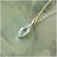 1CT marquis-cut blue topaz 14kt HGE pendant with 14k GEP chain