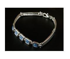 Stering silver plated blue quartz link bracelet