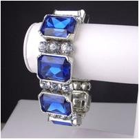 "Stunning sapphire simulated CZ 8"" stretch plus bracelet"