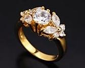 18K GP Brilliant & Marquise Cut CZ Ring, Size 7 (fr-3)
