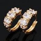 18K GP Huggie Brilliant CZ Simulated Diamonds Earrings