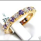 Lady's purple sapphire & diamond 10kt yellow gold ring, size 8 (gr-6)