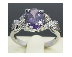 Natural 2.15ct amethyst diamond 10kt white gold ring, size 8 (gr-5)