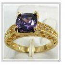 "Alexandrite 10k yellow gold ring with ""I Love You"", size 8 (gr-4)"