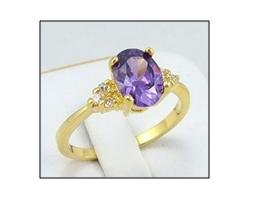 Gorgeous tanzanite & diamond 10k yellow gold ring, size 8 (gr-1)