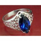 Pure sterling silver 2ct sapphire simulated ring, size 6 (sr-2)