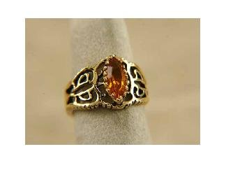 14KT HGE 1CT topaz simulated ring, size 7 (fr-2)
