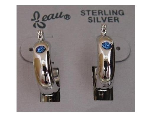 Simulated Sapphire Crystal Silver Earrings by Beau (ser-3)
