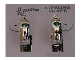 Simulated Emerald Crystal Sterling Silver Beau Earrings (ser-2)