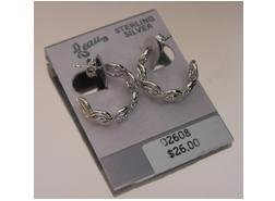 .925 Sterling Silver Beau Hoop Earrings w/Wave Design (ser-6)